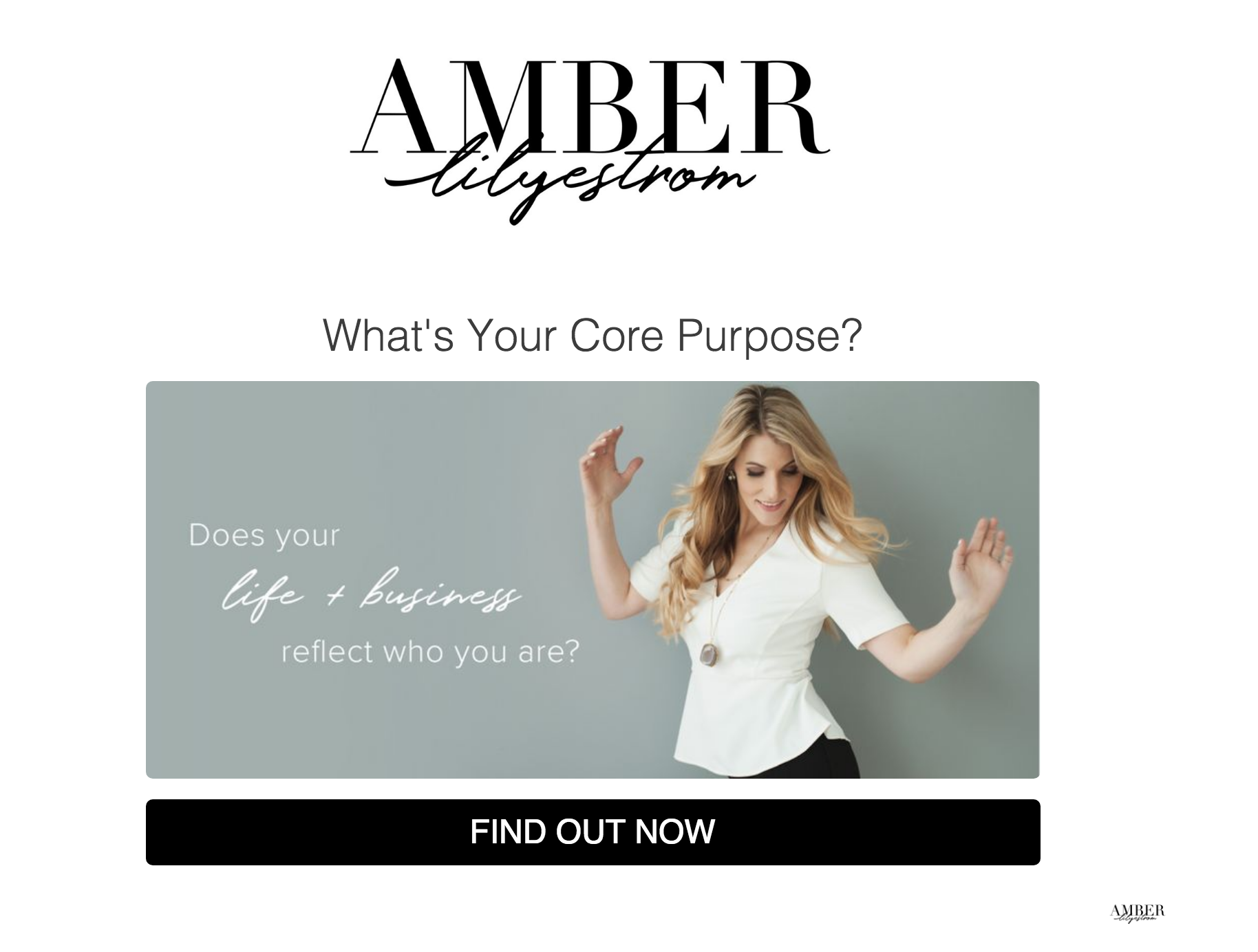 woman standing with hands up and What's your core purpose quiz
