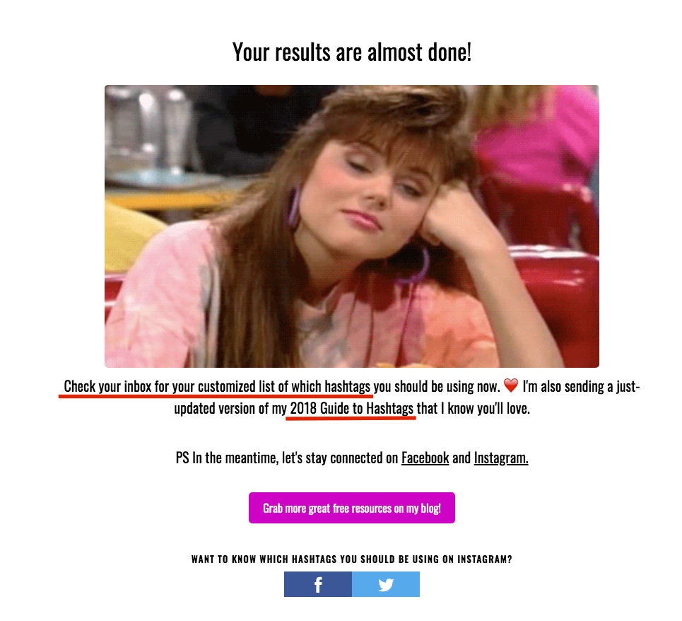 Quiz results page with directions to check email and image of a girl daydreaming