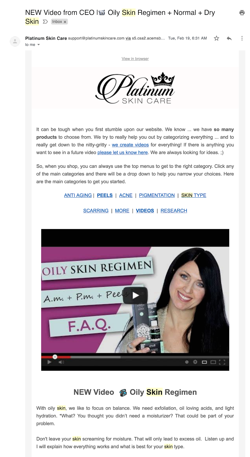 screenshot of followup email for new scriber with embedded video about skincare products