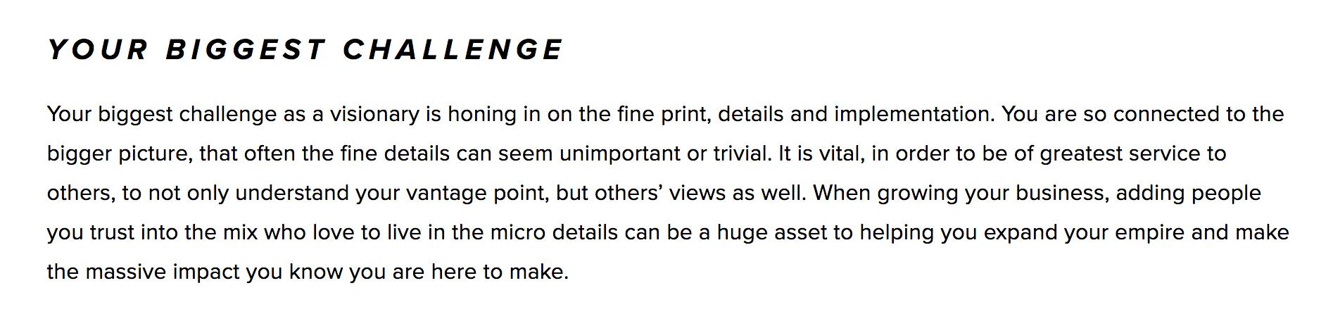 description of challenge visionary faces
