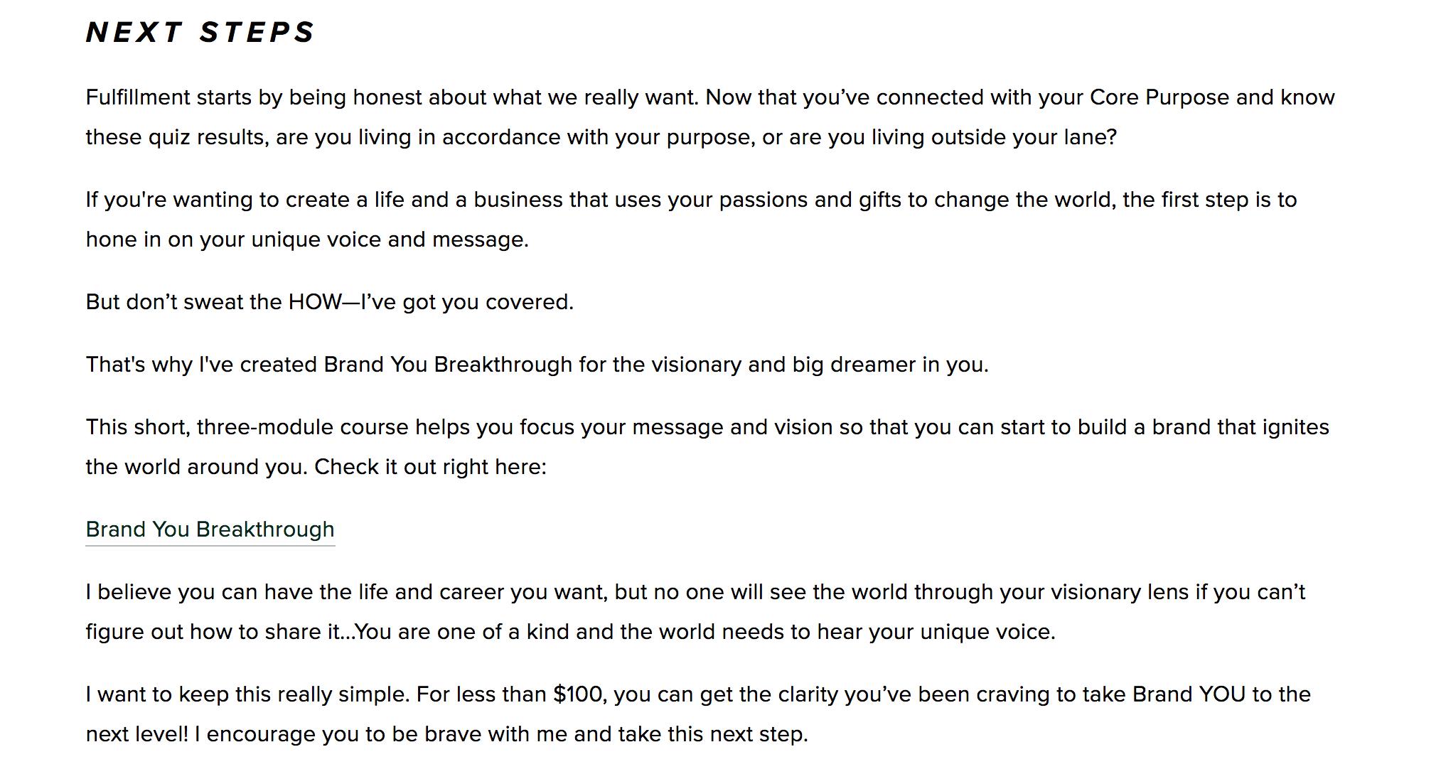 description of what a visionary should do next
