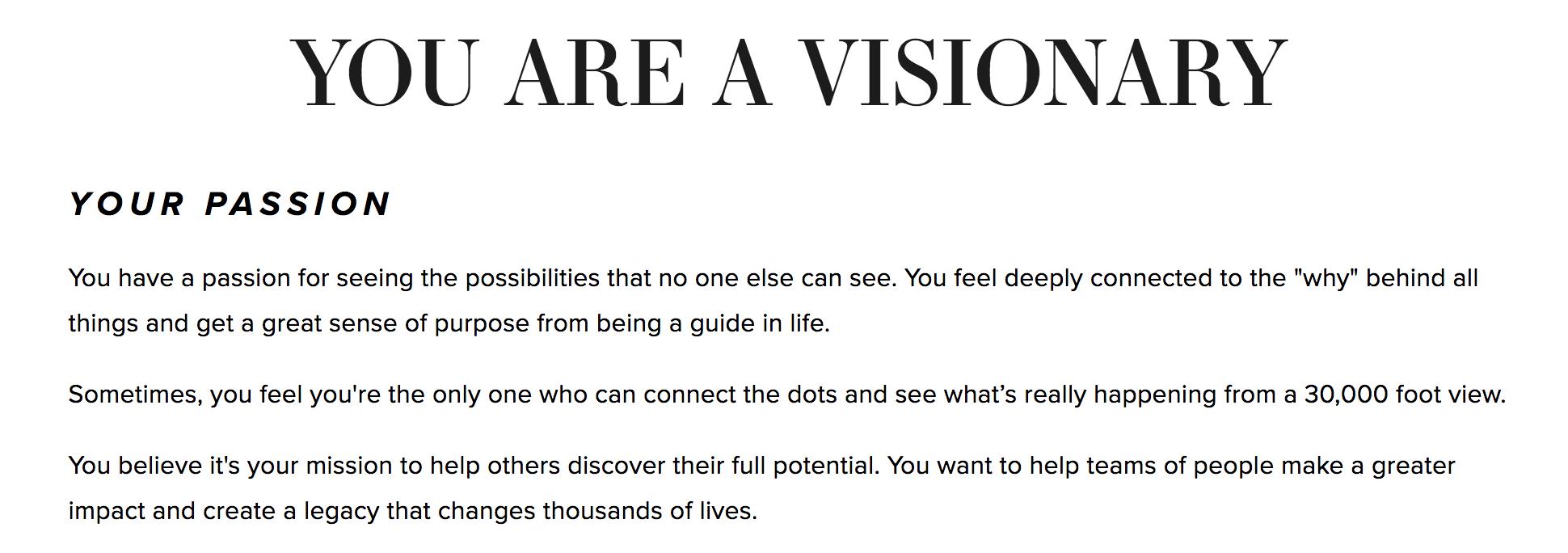description of visionary quiz results