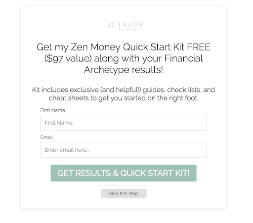 Optin offering free Quick Start Kit with a value of $97 as an incentive to subscribe