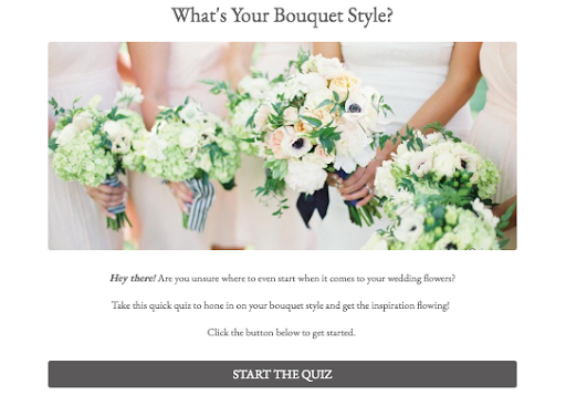 quiz cover with image of women holding bouquets and quiz description