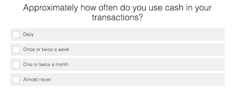 quiz question on how often you pay with cash and answer choices