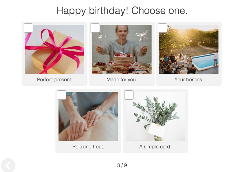 quiz question about how to celebrate your birthday with image choices