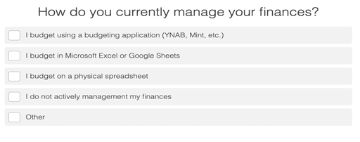 quiz question on how you manage your finances with answer choices