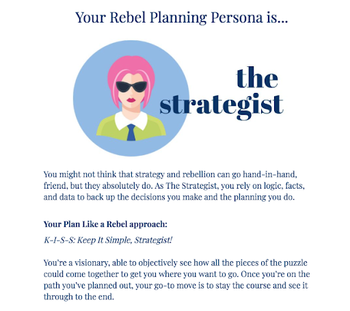 quiz result description for the strategist