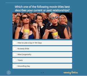 women watching movies with quiz question abot what movie describes your relationships