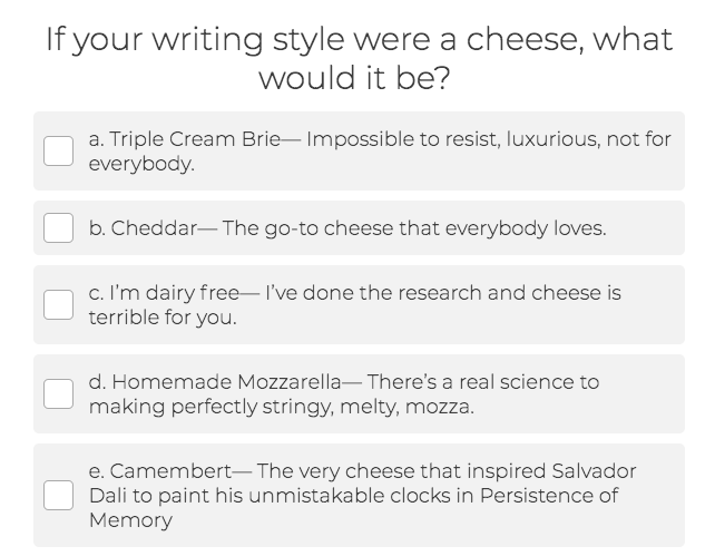 question about writing style and cheese