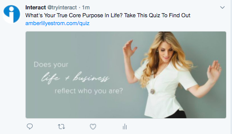 Twitter post about quiz