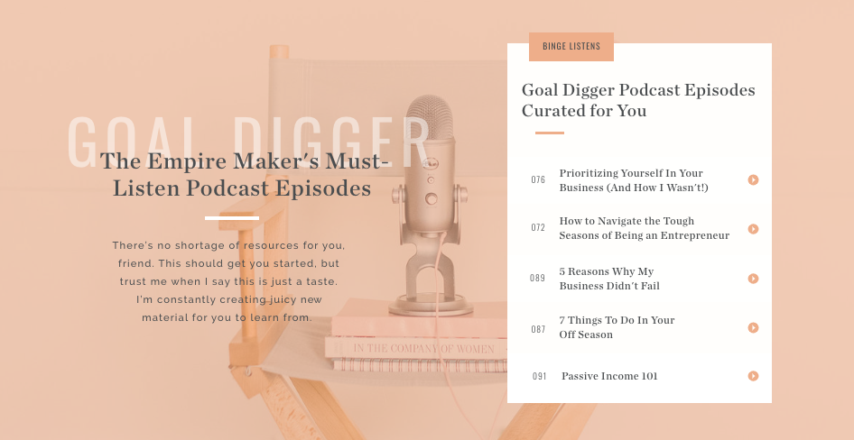 Podcast episode recommendations with Empire Maker quiz results