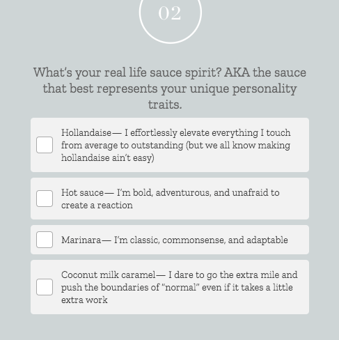 Quiz question about personality sauce with answer choices