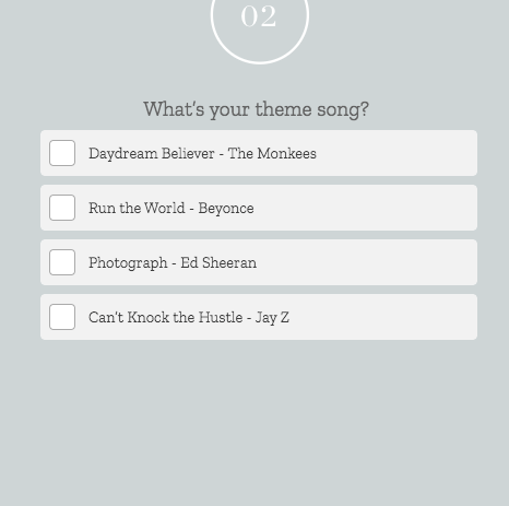 Quiz questions what's your theme song with answer choices
