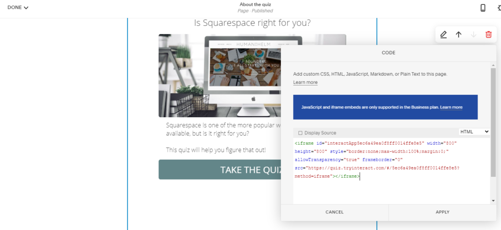 HTML code for Squarespace quiz