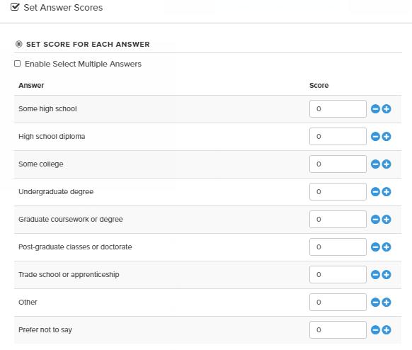 scored quiz answer settings