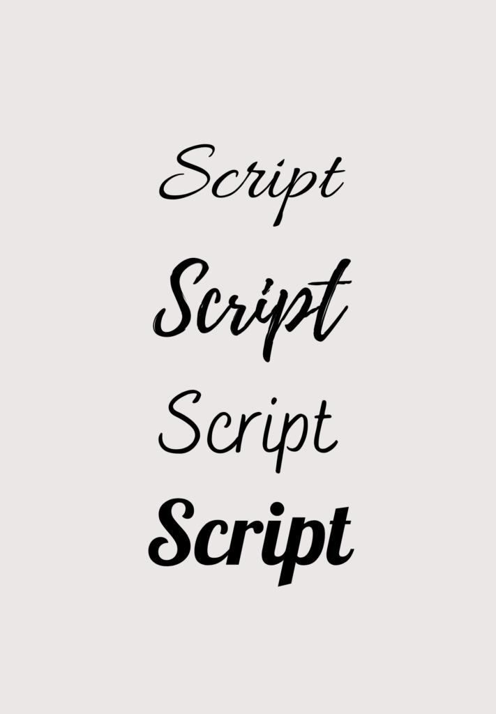 Examples of script fonts