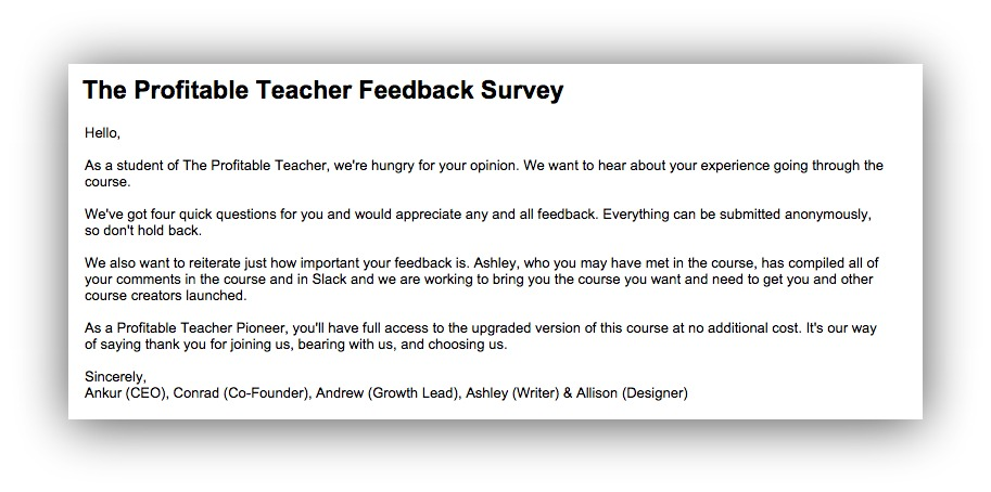intro letter to survey from Profitable Teacher