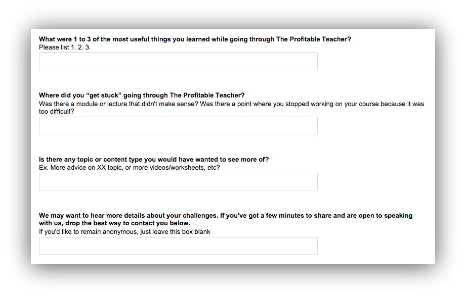 survey questions from The Profitable Teacher
