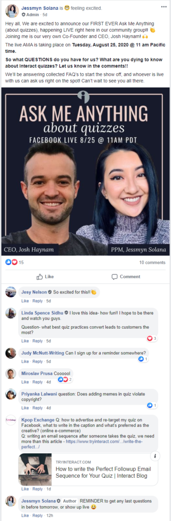 Interact Facebook post for Ask Me Anything