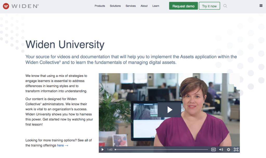 Widen University webpage
