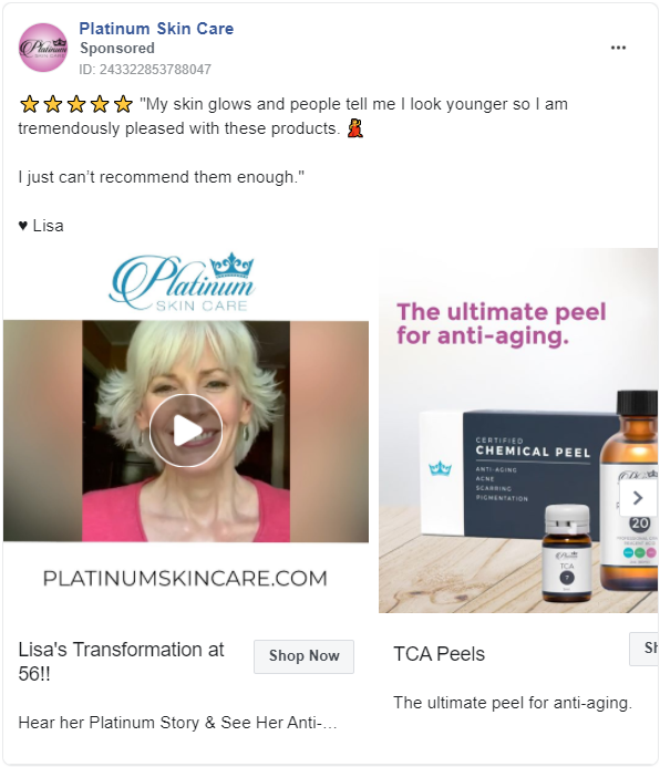 Another woman's testimonial in Facebook ad