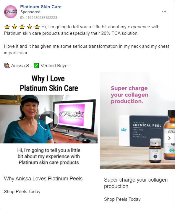 ad with woman's testimonial