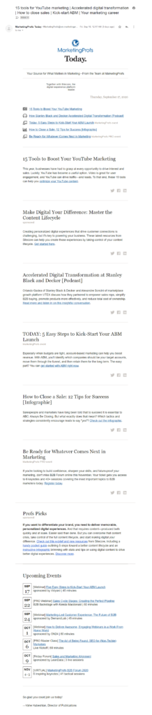 screenshot of Marketing Prof's email newsletter