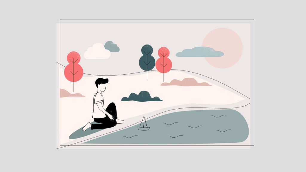 illustration of guy releasing paper boats in a lake