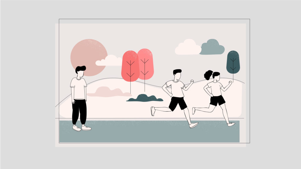 illustration of guy at starting line of race while others have already taken off