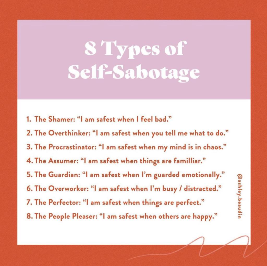 list of 8 types of self sabotage