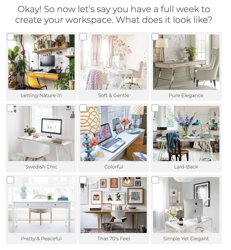 question with different styles of workspaces