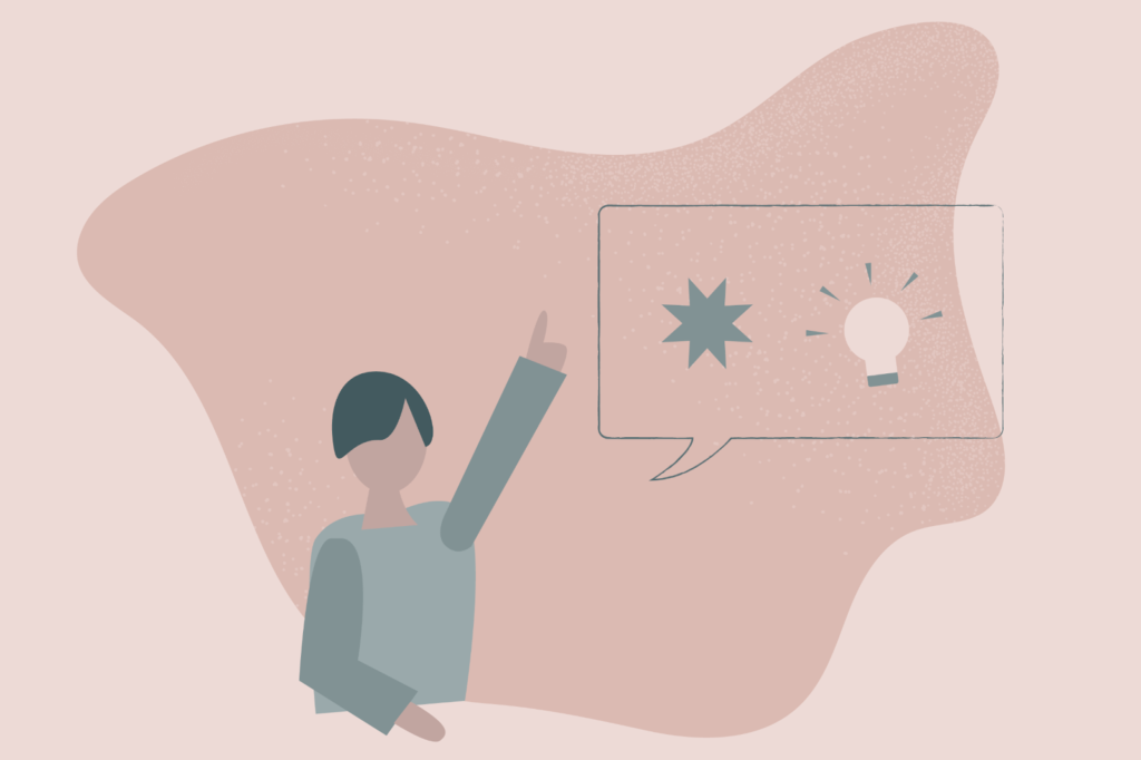 illustration of a person raising hand to show they have an idea