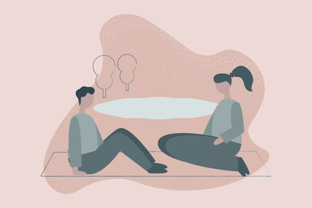 (Illustration of two people sitting by a pond, deep in conversation)