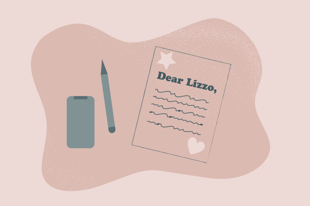 (Illustration of writing a letter to Lizzo